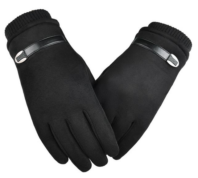 Outdoor gloves suede fabric antiskid Winter Cycling Gloves touch screen Windproof Gloves For Bike Motorcycle Warm Glove black_One size