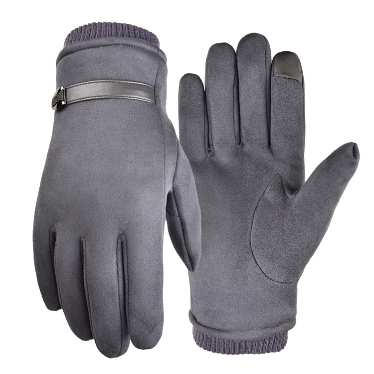 Outdoor gloves suede fabric antiskid Winter Cycling Gloves touch screen Windproof Gloves For Bike Motorcycle Warm Glove Dark gray_One size