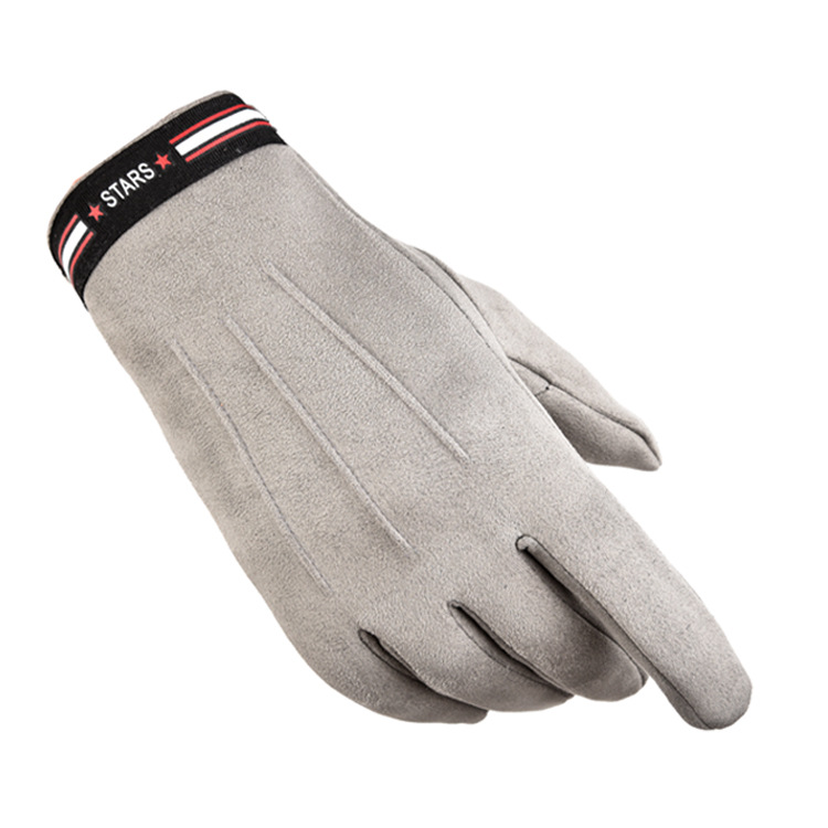 Outdoor Sports Gloves suede fabric Touch Screen windproof Driving Motorcycle Gloves Non-slip Ski Warm Fleece Gloves  Light gray_One size