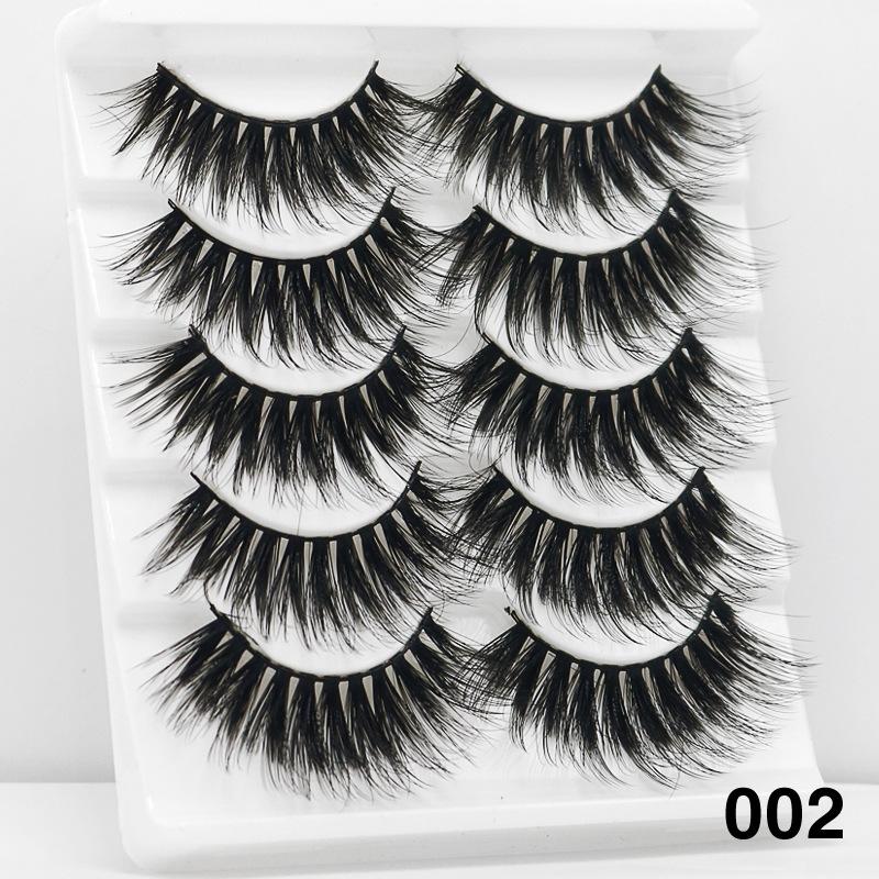 5Pairs 6D Mink Hair False Eyelashes Wispy Makeup Beauty Extension Tools 002