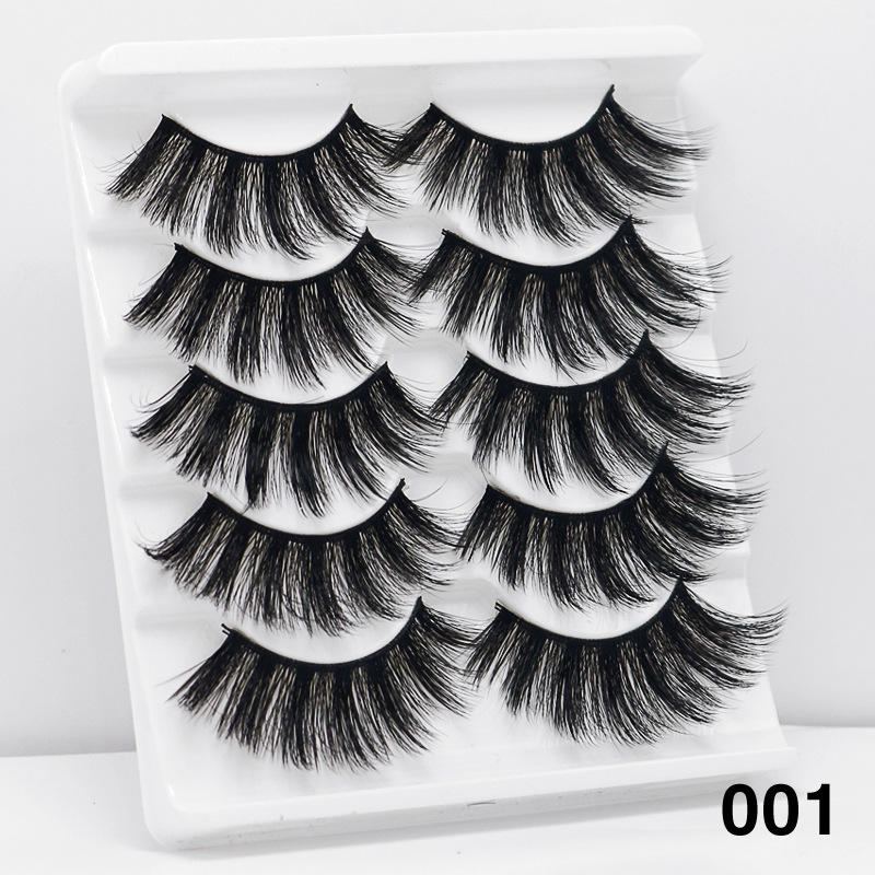 5Pairs 6D Mink Hair False Eyelashes Wispy Makeup Beauty Extension Tools 001