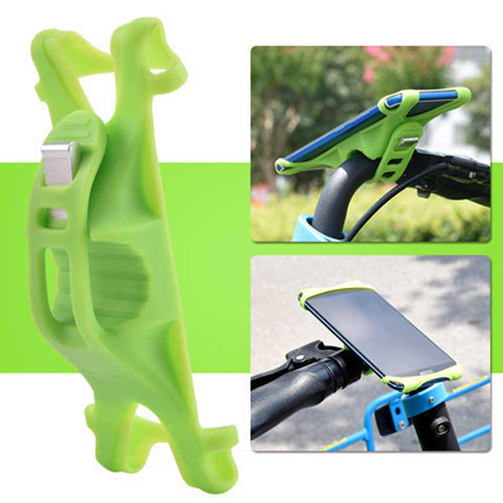 Bike Phone Holder Silicone Adjustable Pull Button Anti-shock Mount Bracket  green