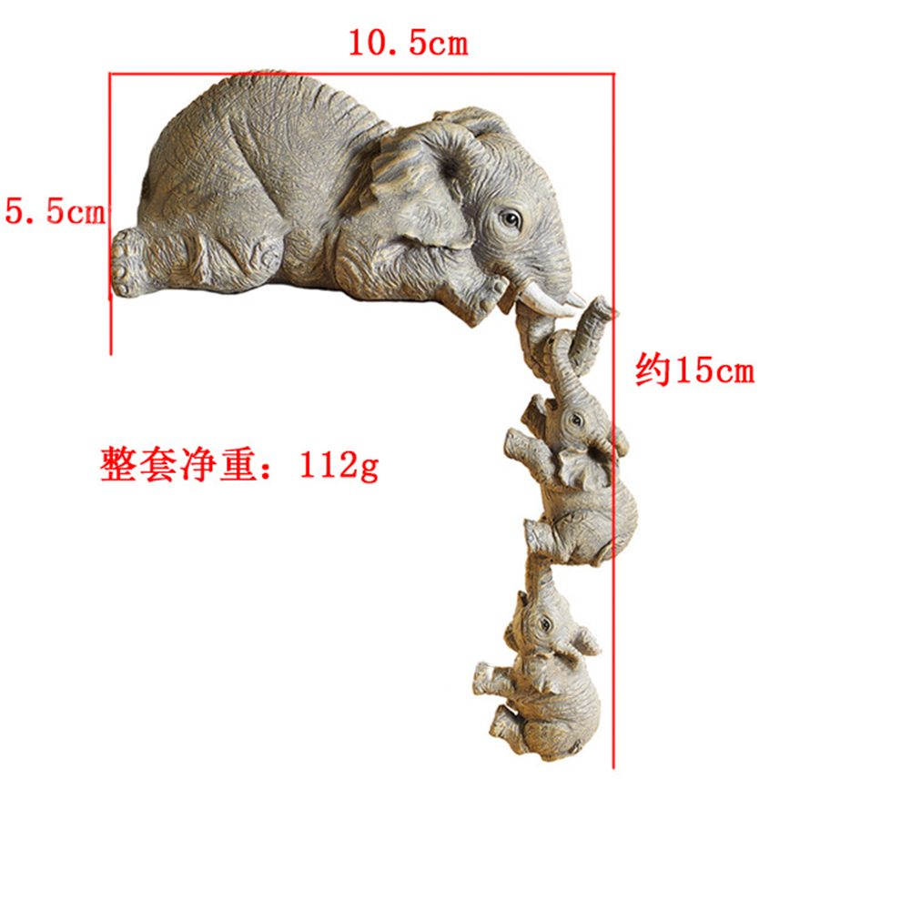 Artifical Ornaments Three Hanging Elephants Figurines Resin  Crafts Household Decoration 3 elephants W78