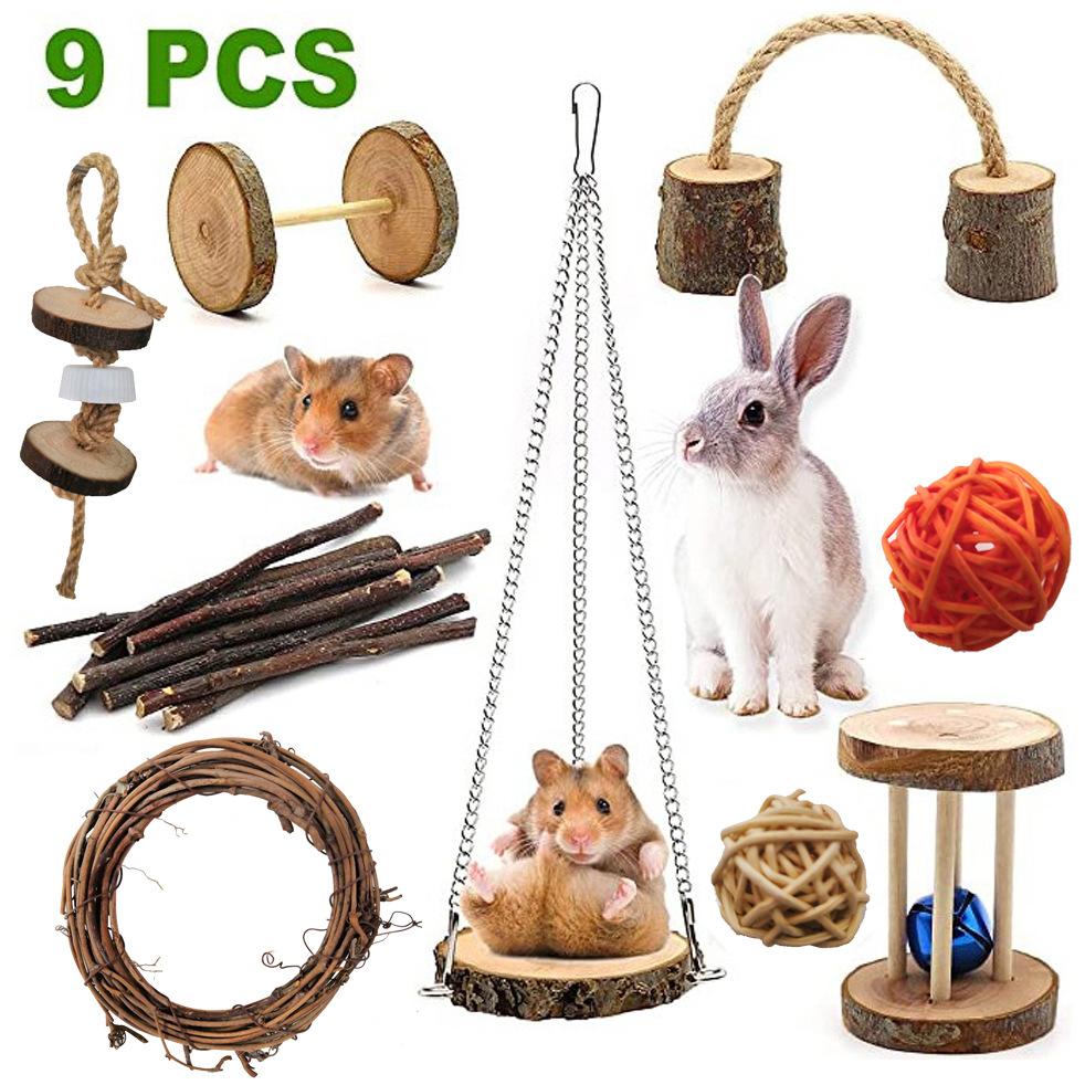 9Pcs/Set Wooden Swing Bite Resistant Toy for Pet Hamster Rabbit Parrot 9pcs