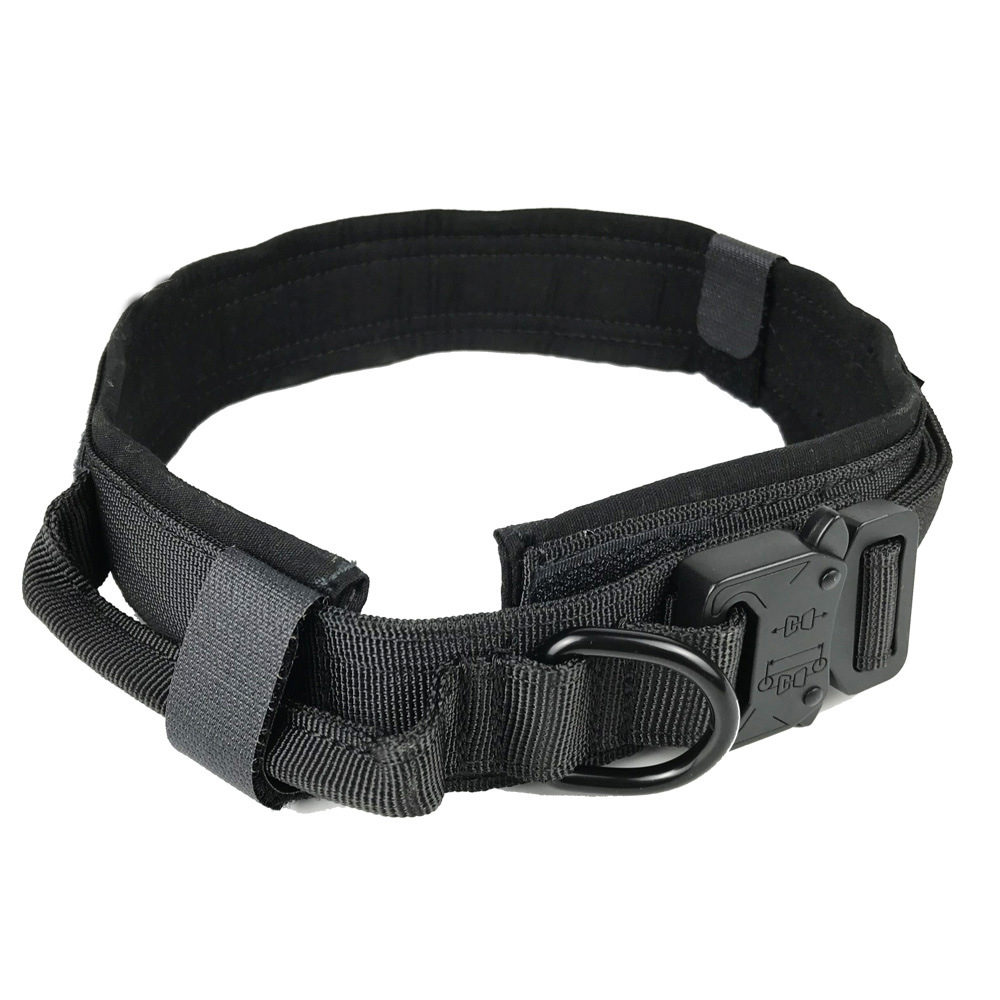Pet Collar Adjustable Thicken Leash Control D Ring Training Collar for Small Large Dogs black_L