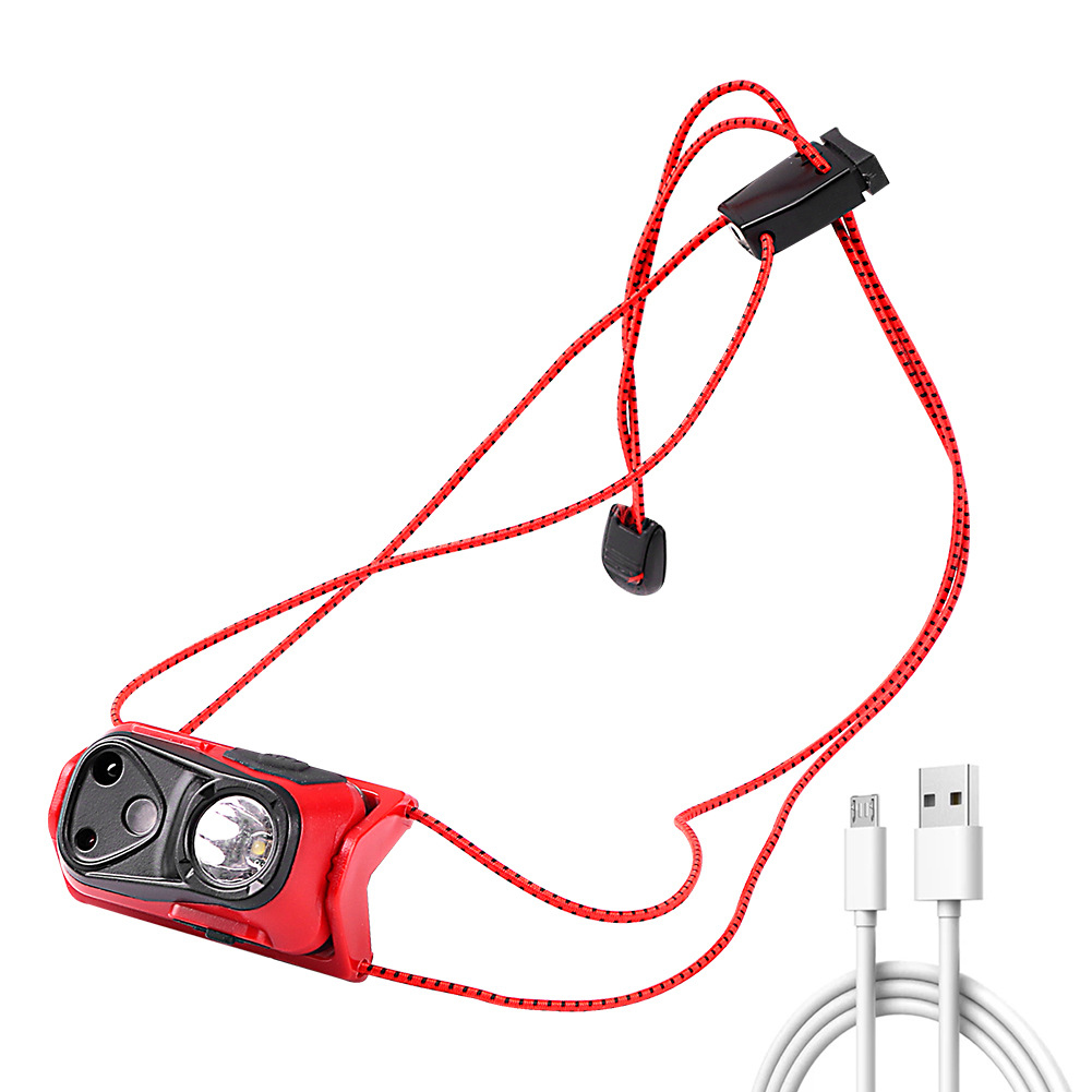 Body Motion Sensor Xpg Led  Headlamp Usb Rechargeable Camping Torch Built-in Battery Fishing Head Lamp red