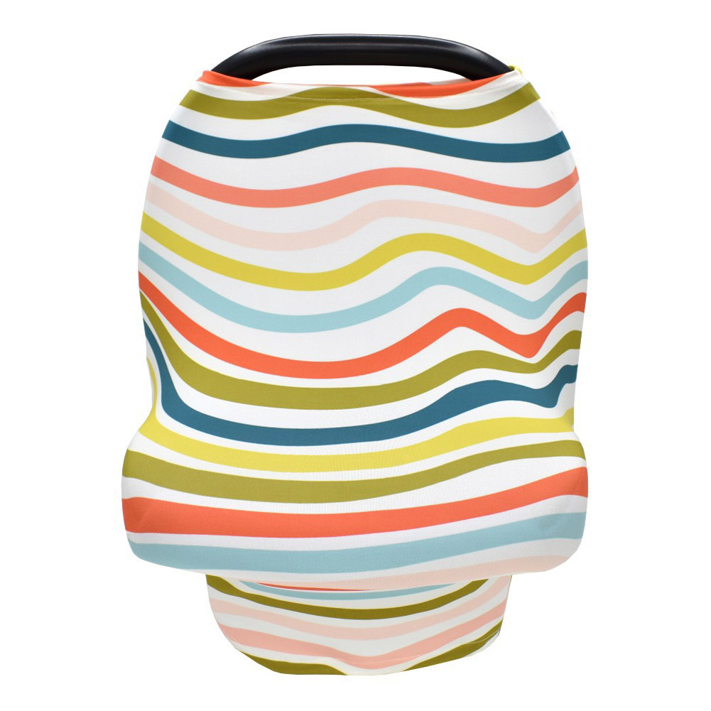 Stretchy Baby Car Seat Cover Multiuse - Nursing Breastfeeding Covers Rainbow Car Seat Canopies  wave_One size
