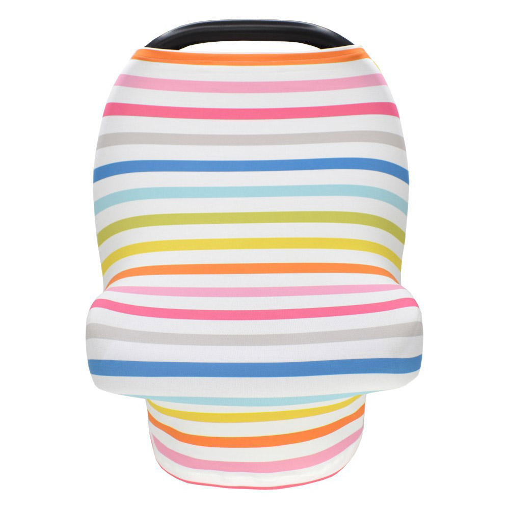 Stretchy Baby Car Seat Cover Multiuse - Nursing Breastfeeding Covers Rainbow Car Seat Canopies  Thin strip_One size