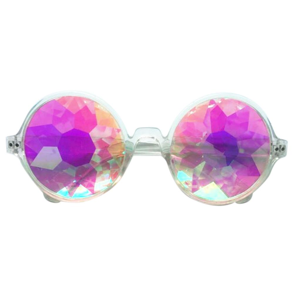 Retro Round Kaleidoscope Sunglasses Fashion Unique Cosplay Goggles Transparent