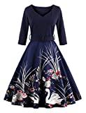 Retro Style V-neck Dress for Women Elegant Goose Printd Casual Dress with Waistband Black