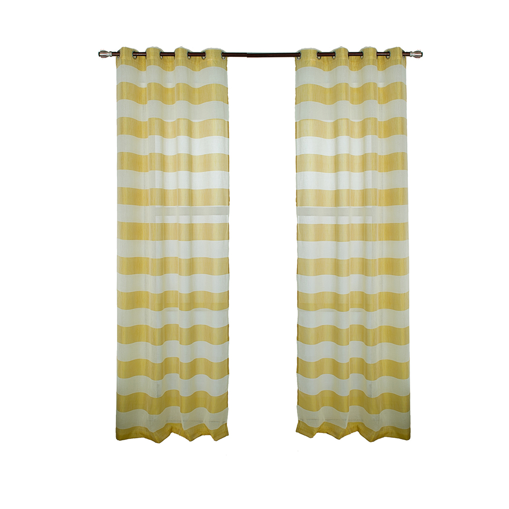 Retro Style Striped Printing Tulle Curtain for Living Room Bedroom Window Decor Punching Style yellow_W 107cm* H 213cm