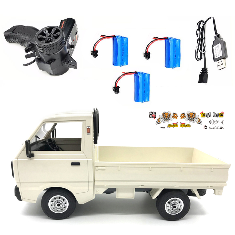 WPL D12 1/10 4WD RC Car Simulation Drift Truck Brushed 260 motor Climbing Car LED Light On-road RC Car Toys For Boys Kids Gifts White 3 batteries