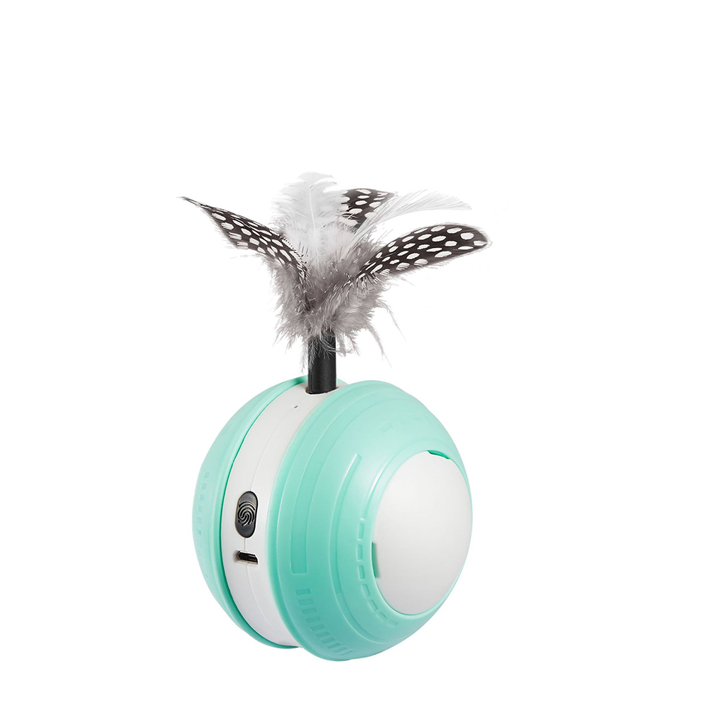 Pet Rolling  Ball Automatic Funny Cat Toy Led Infrared Electric Rotating Sports  Ball Usb Charging Green white green_See details