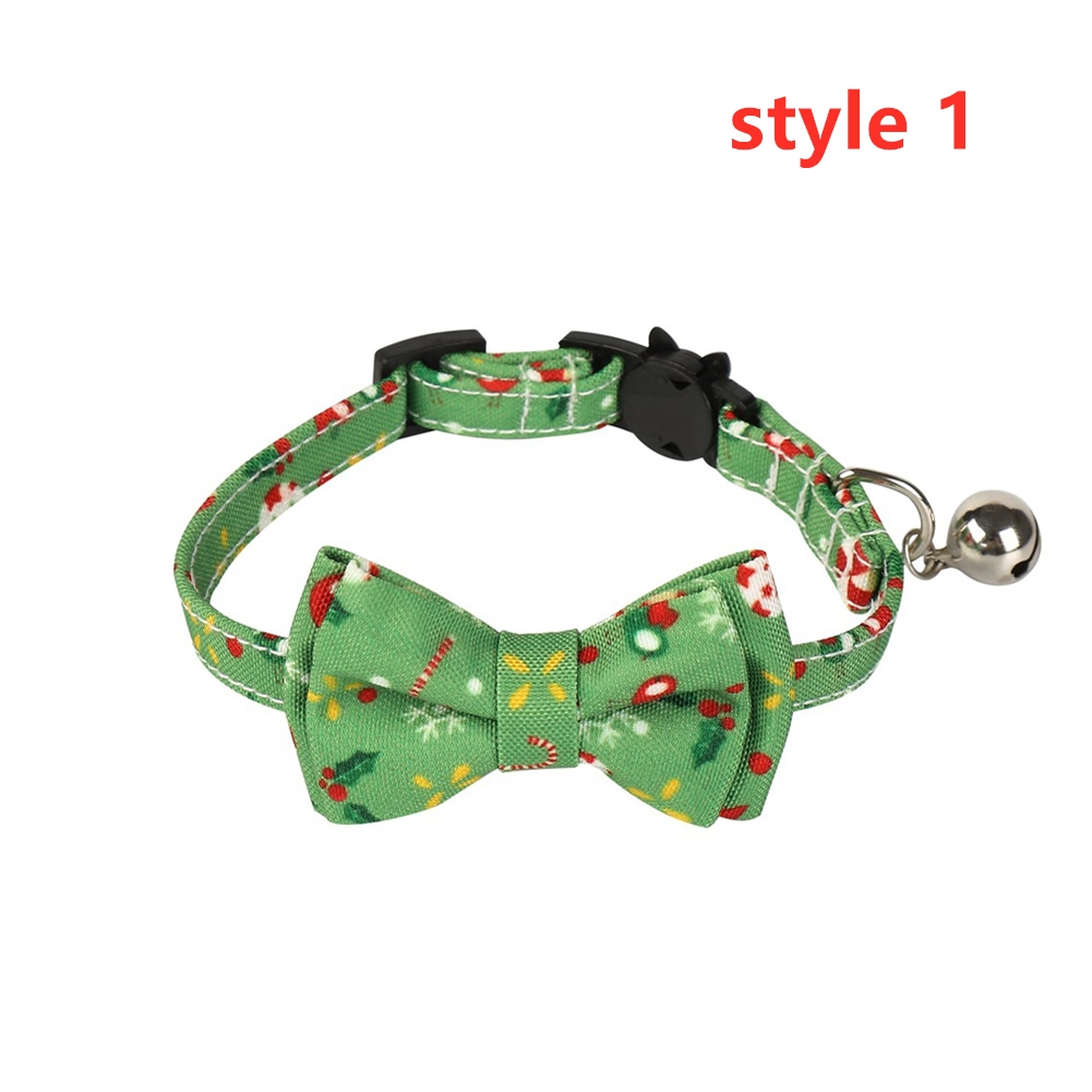 Cat Collar with Bow Tie Christmas Santa Claus Patterns Adjustable Kitten Collars with Bell style 1_S 1.0*28cm