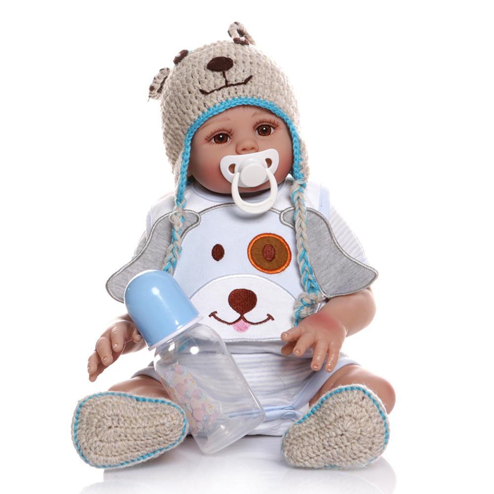 48cm Silicone Doll Reborn Baby Doll In Blue Dress Full Body Soft Silicone Realistic Baby Bath Toy Brown eyes