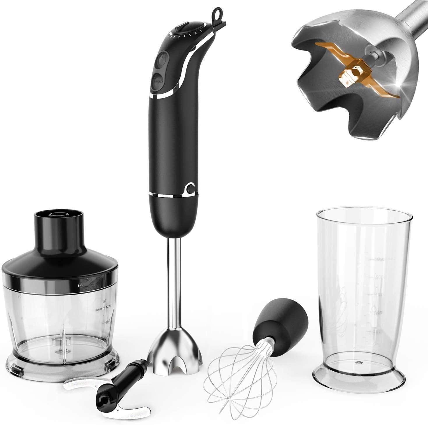 [US Direct] KOIOS 800-Watt/12-Speed Immersion Hand Blender, Turbo for Finer Results, 4-in-1 Set Includes Food Chopper / Egg Beater / Beaker