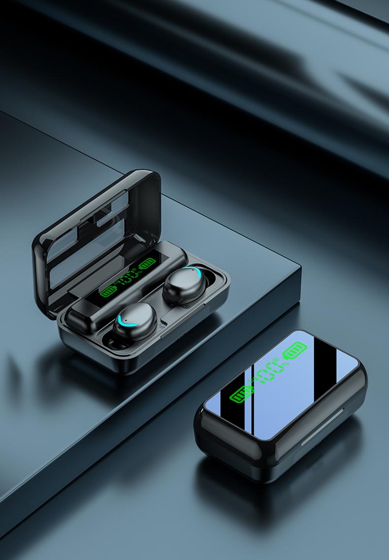 R11 Bluetooth Headset Mirror Led Digital Display Touch Sports Stereo Waterproof Earphones black