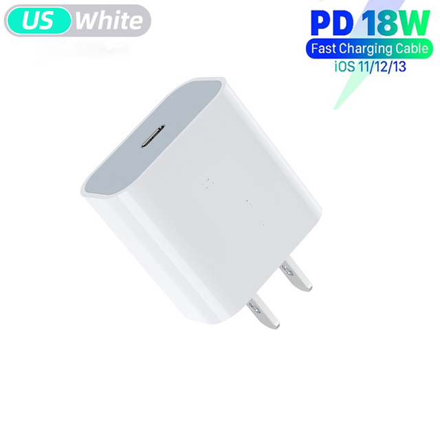 18w Pd Qc4.0 Fast Charger Charging Head + 1m Data Cable Quick Charge Adapter white