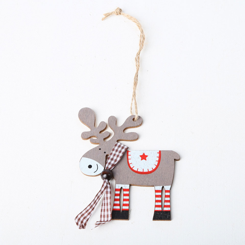 Wood Painted Elk Shape Hanging Pendant for Home Christmas Tree Decor  JM01625