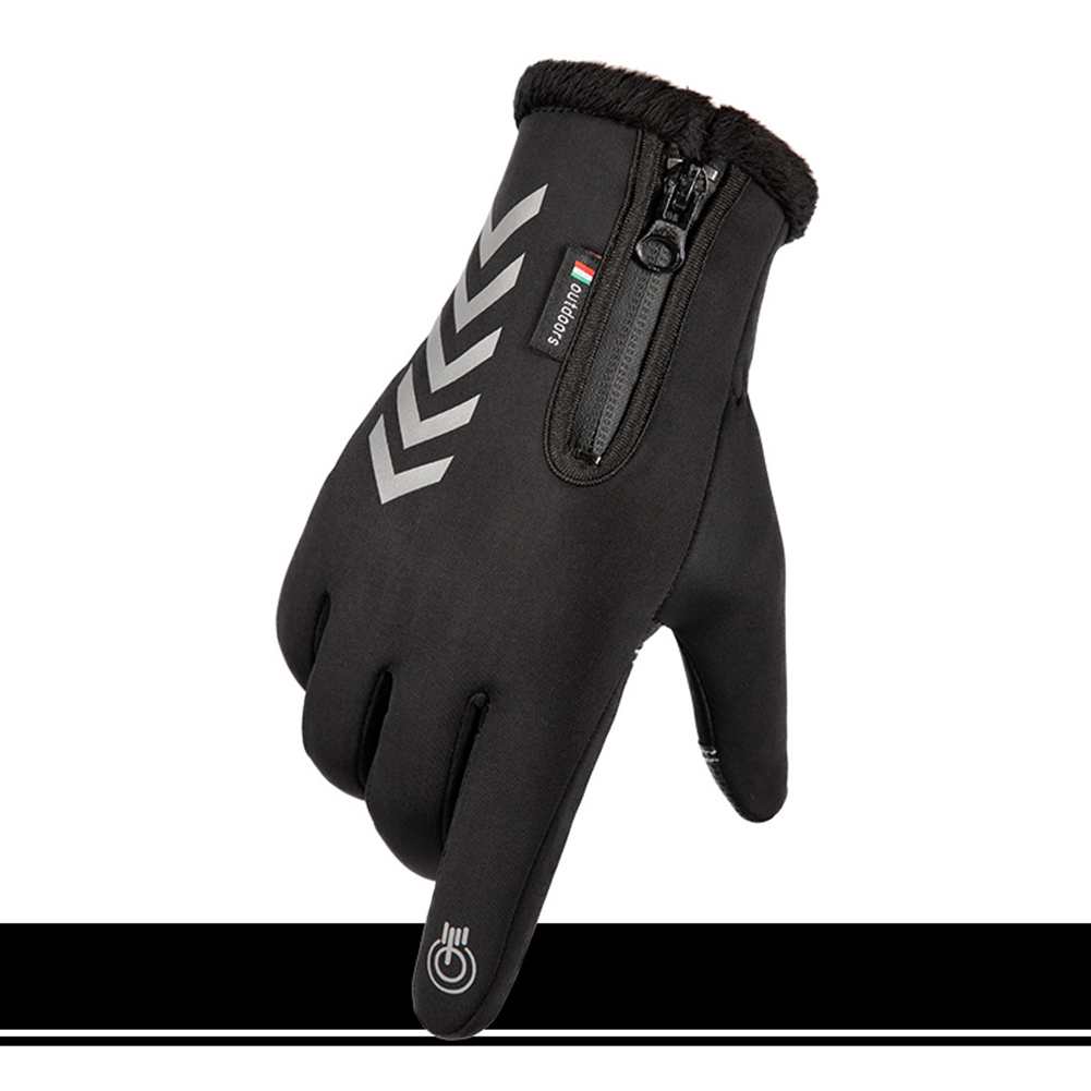 Men Women Cycling Gloves Autumn Winter Waterproof Slip Five Finger Touch Screen Night Riding Running Reflective Strip Gloves Waterproof arrow reflective black_One size