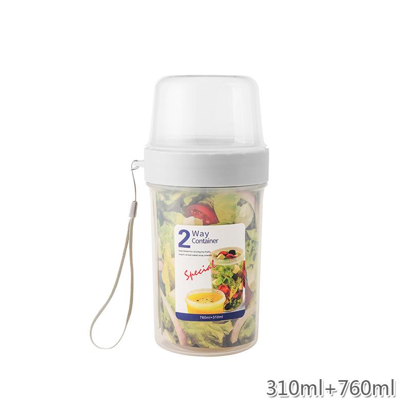 Portable Double-layer Fresh-keeping  Box Multi-purpose Food Sealment Container For Yogurt Salad 310+760ml