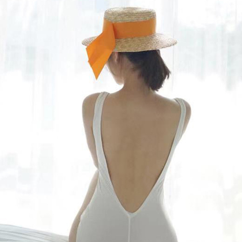 Women Swimwear Sexy Solid Color Triangle Backless One-piece Swimsuit white_m