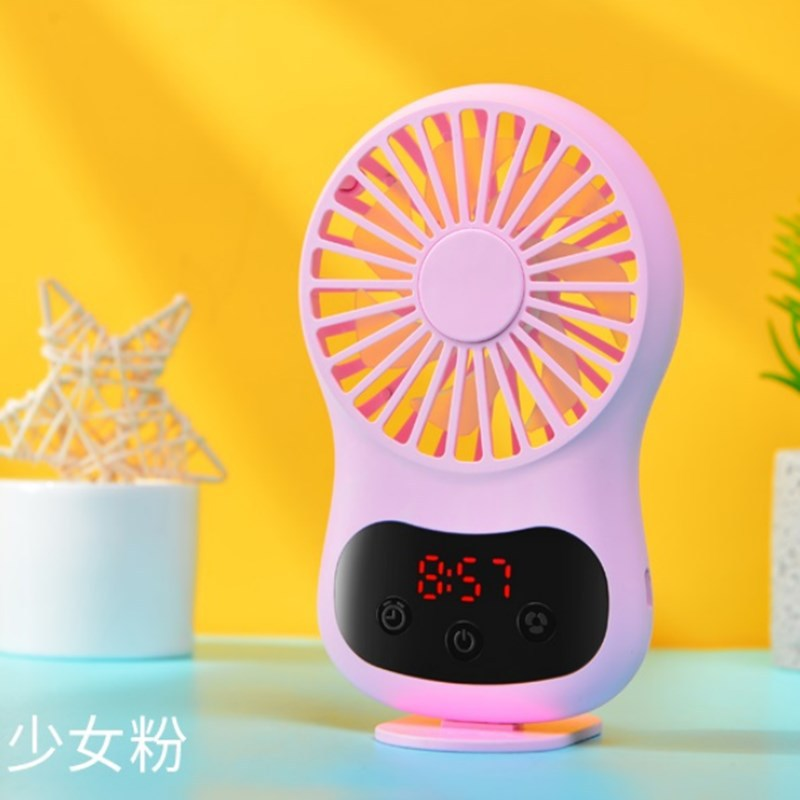 Multifunction Mini USB Fan Clock Travel Cooling Fan with Hanging Rope for Office Outdoor Home Pink_130*70*20mm