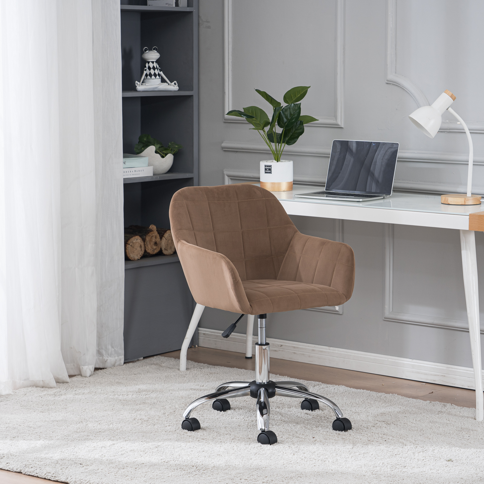 [US Direct] Modern New Pink Velvet Desk Chair With Chorme Metal Base Ergonomic Computer Task Chair with Arms Adjustable Height Swivel Home office chair