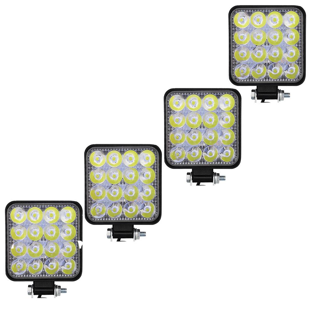 4pcs Led Work Light Bar Flood Spot Lights Driving Lamp Offroad Car Truck Suv 48w White light 4 pcs