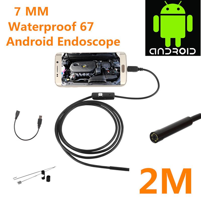 2m 1m 7mm Endoscope Camera Flexible Ip67 Waterproof Inspection Borescope Camera 6leds Adjustable 7mm 2 meters