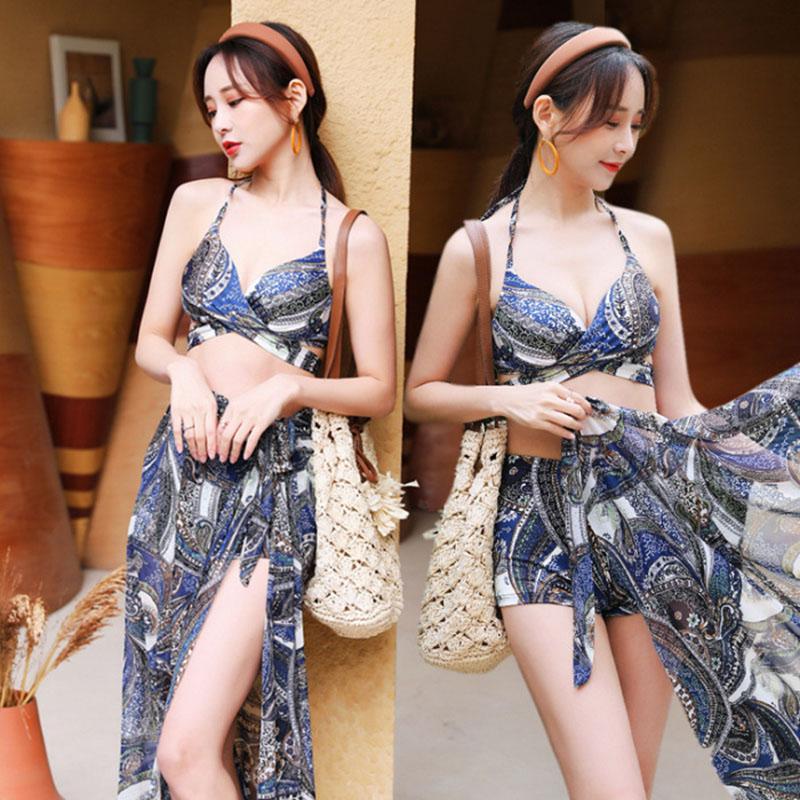 3Pcs/set Women Split Swimsuit Cross Bra Shorts Gown Bikini Swimwear Steel Brim Sexy Lady Beachwear Navy blue 5862_XL