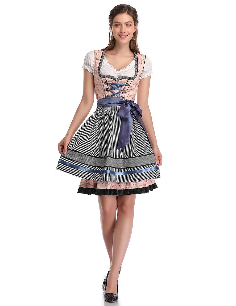 KOJOOIN Women's Vintage German Dirndl Dress Costumes for Bavarian Oktoberfest Halloween Carnival