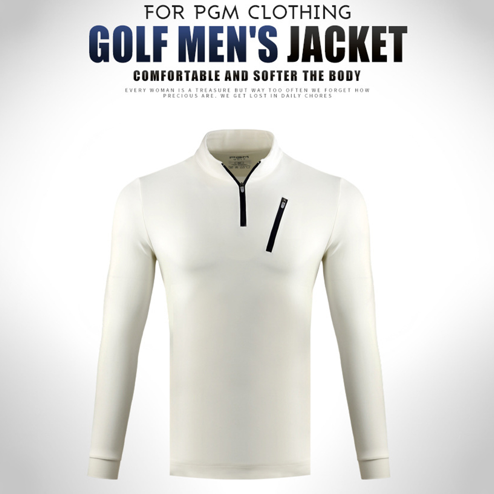 Male Golf Autumn Winter Clothes Stand Collar Long Sleeve T-shirt Windproof Warm Suit YF213 white_L