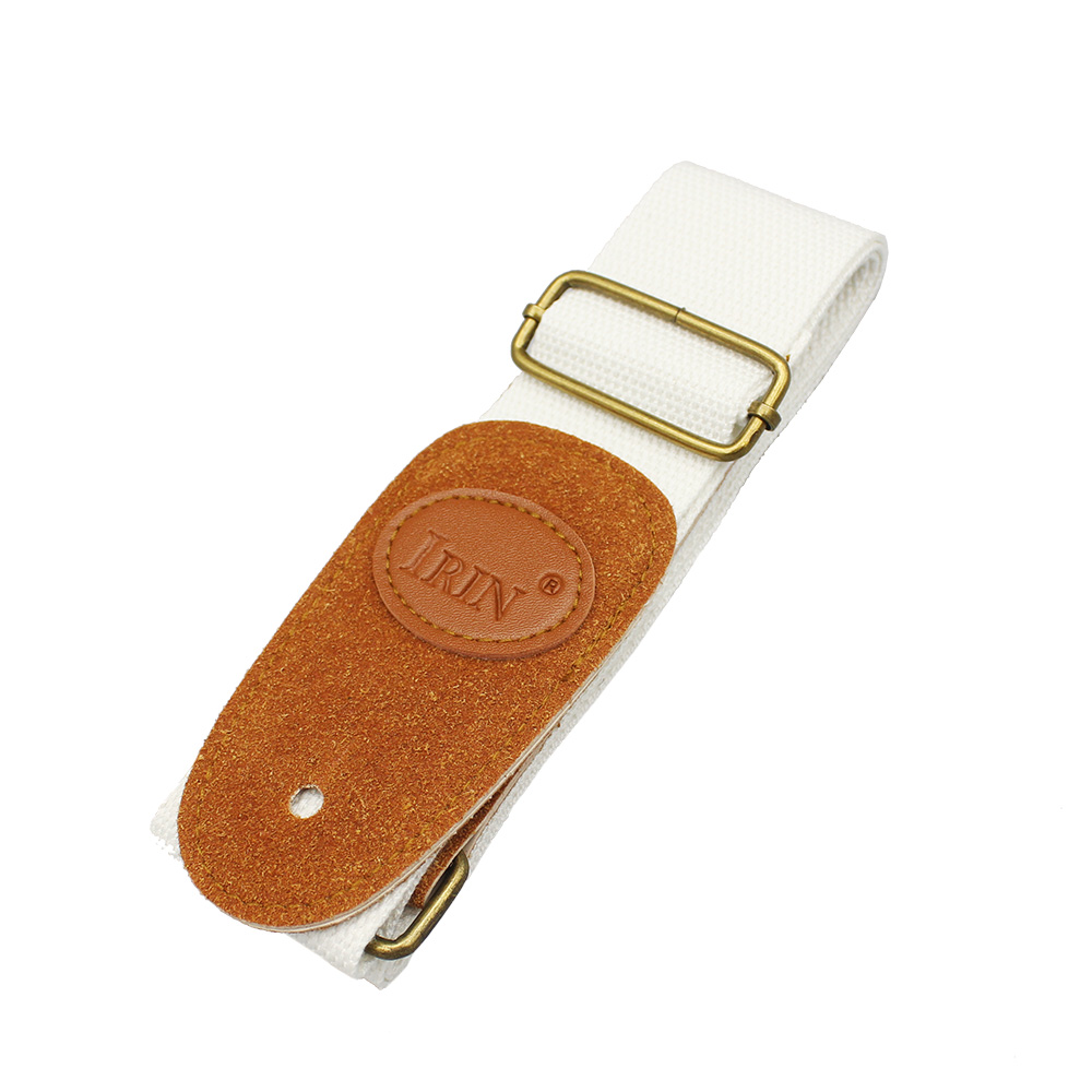 Adjustable Guitar Belt Woven Cotton Guitar Strap with Leather Ends for Electric Acoustic Folk Guitar  white