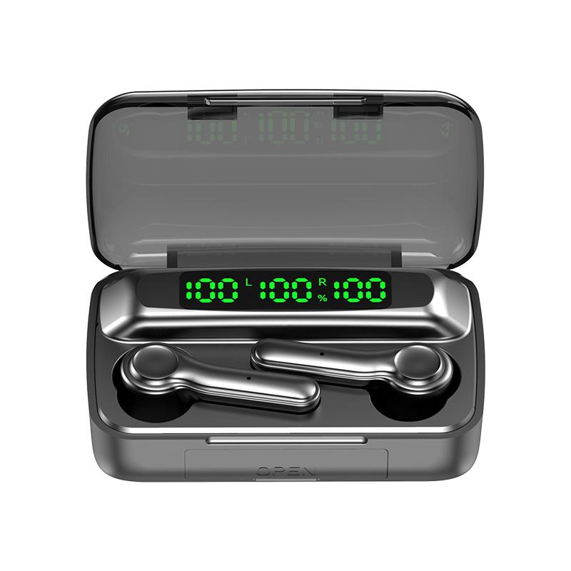 R9S Bluetooth 5.1 Wireless Earphones Digital Display Binaural Call Sport Earbuds black