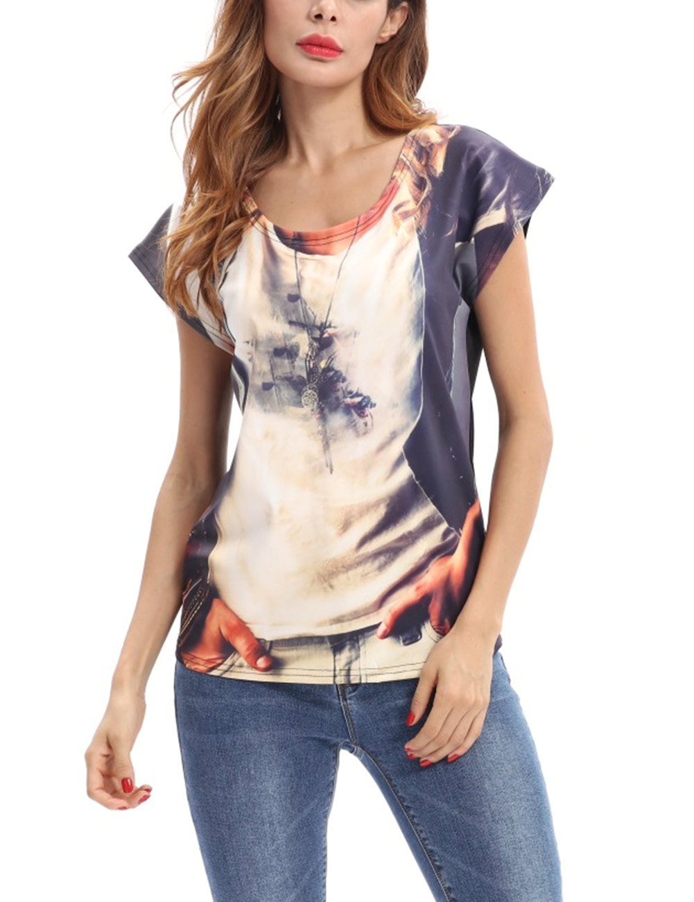 Women Stylish Short-Sleeve Round-neck T-Shirt Creative Printing Tops Blouse