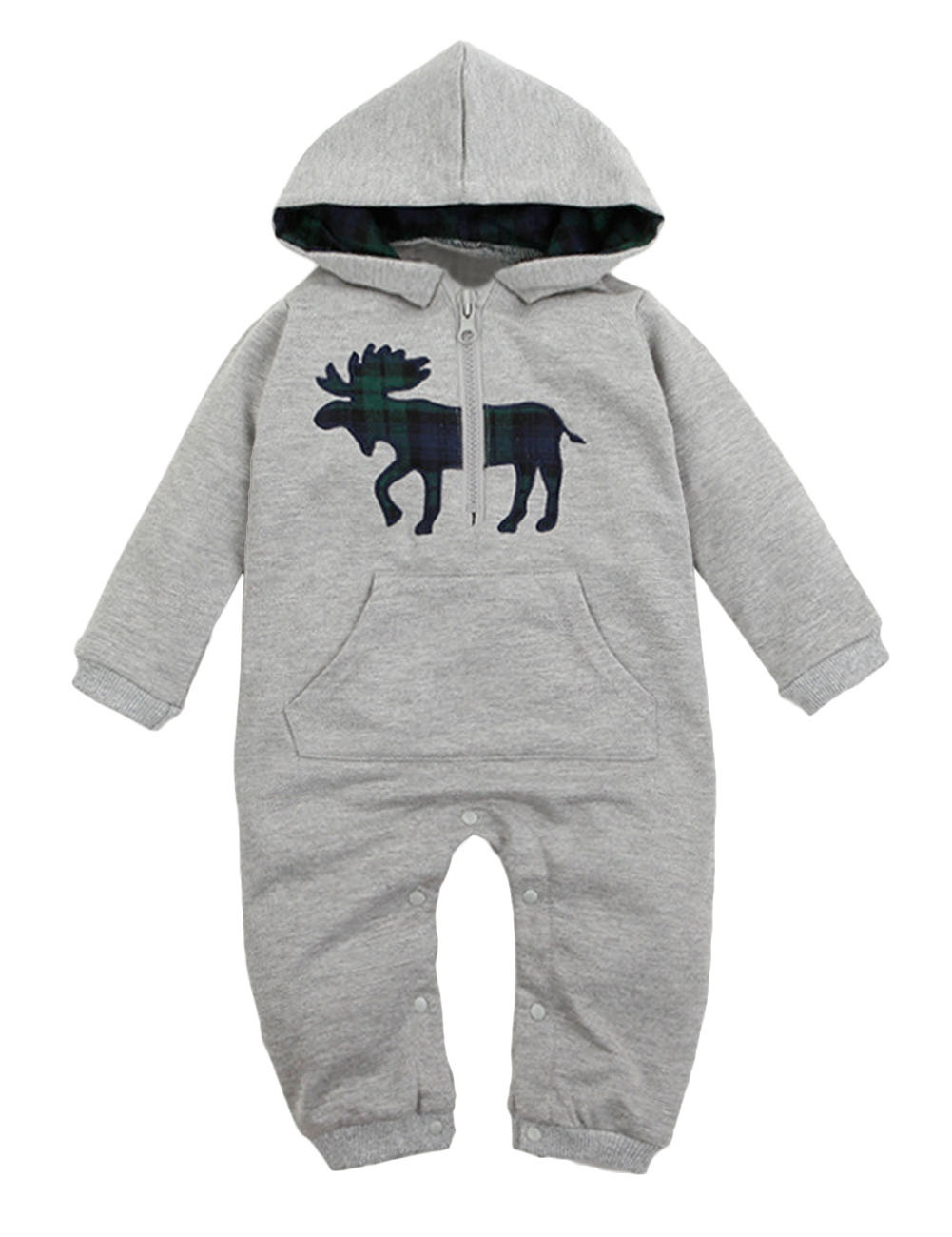 Kids Autumn and Winter Warm Hooded Cartoon Patch Pocket Infant Rompers Jumpsuit