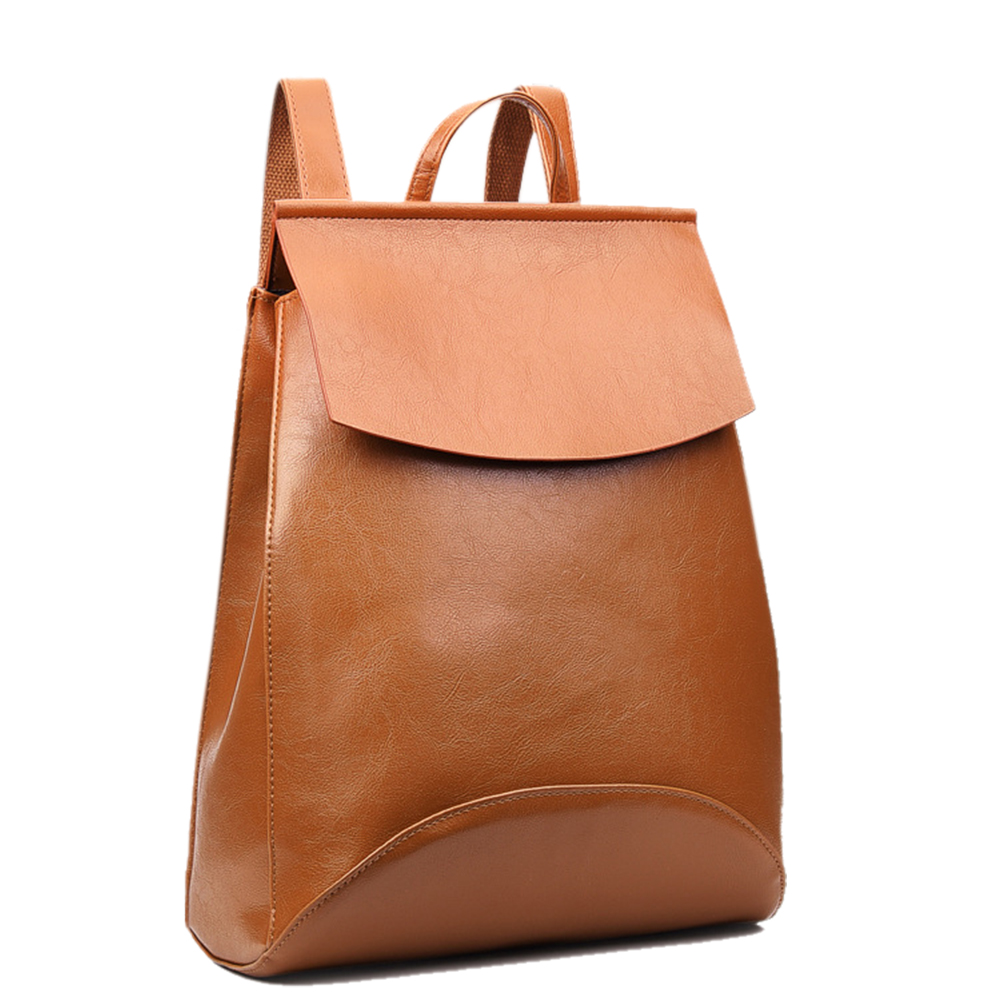 Women's Oil Wax PU Leather Backpack Satchel Concise Solid Color Covered Shoulder Bag Schoolbag for Students