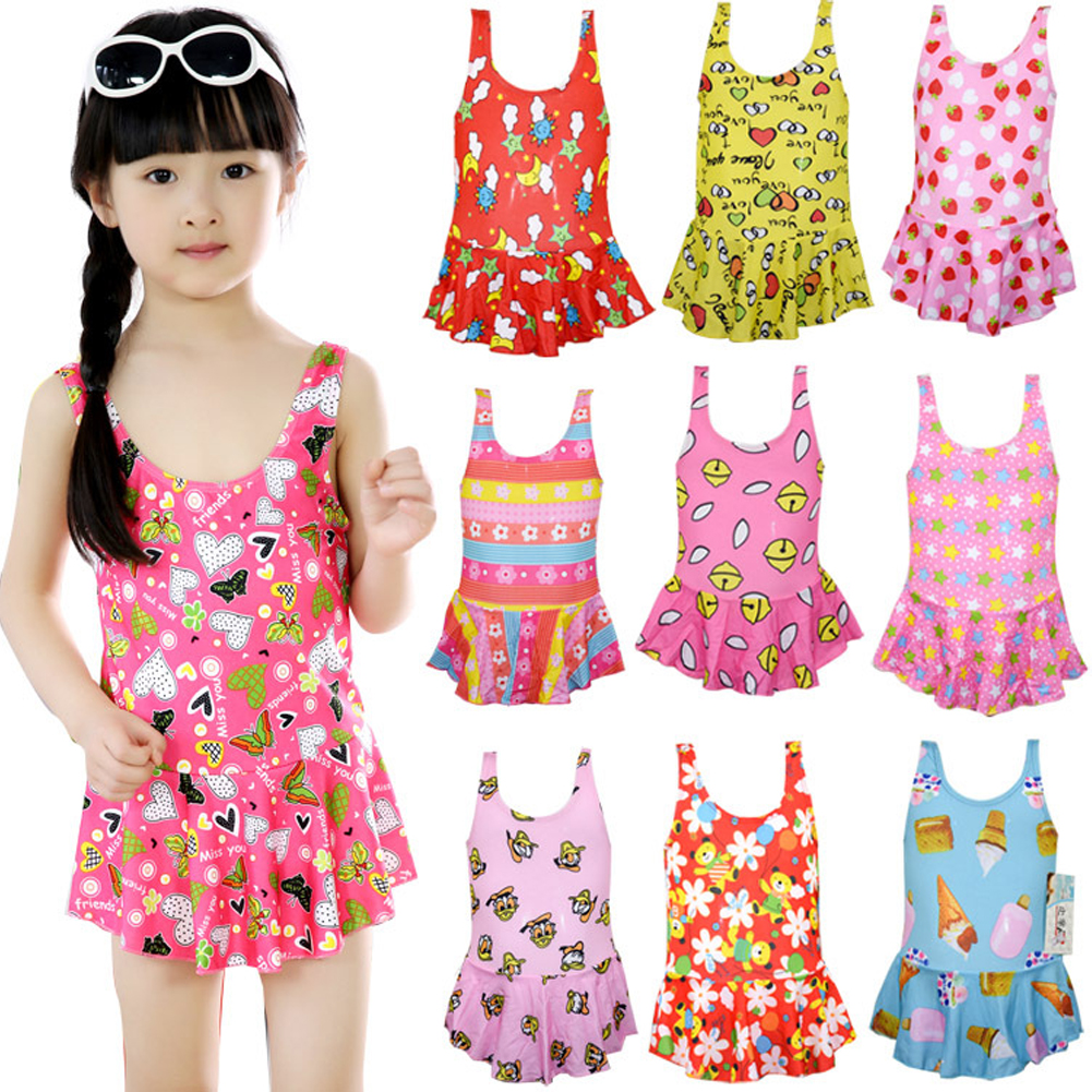 Baby Girl Swimwear Sling Dress Backless Jumpsuit Swimsuit Beach Wear for 1-5Y Random Color Random Color_55 yards