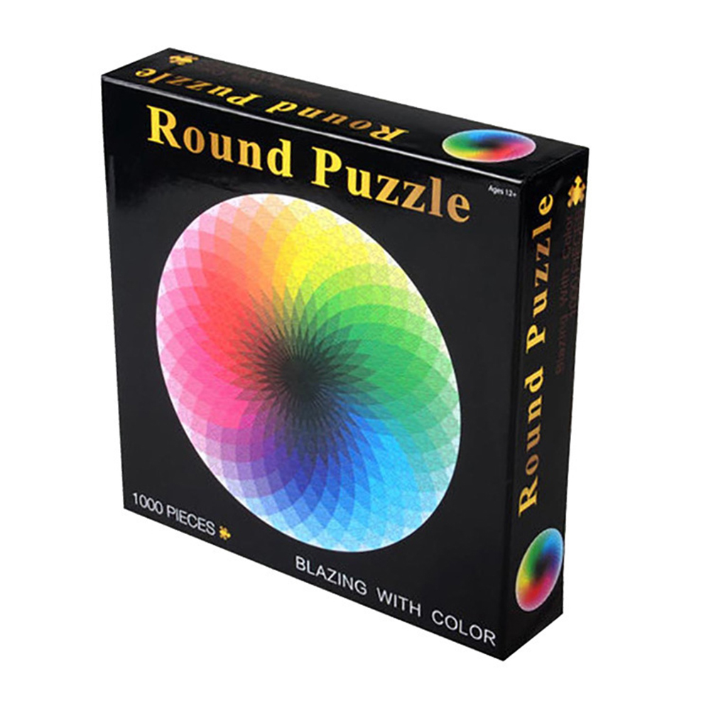 1000 pcs/set Colorful Rainbow Round Geometrical Photo Puzzle Adult Kids DIY Educational Reduce Stress Toy Jigsaw Puzzle Paper