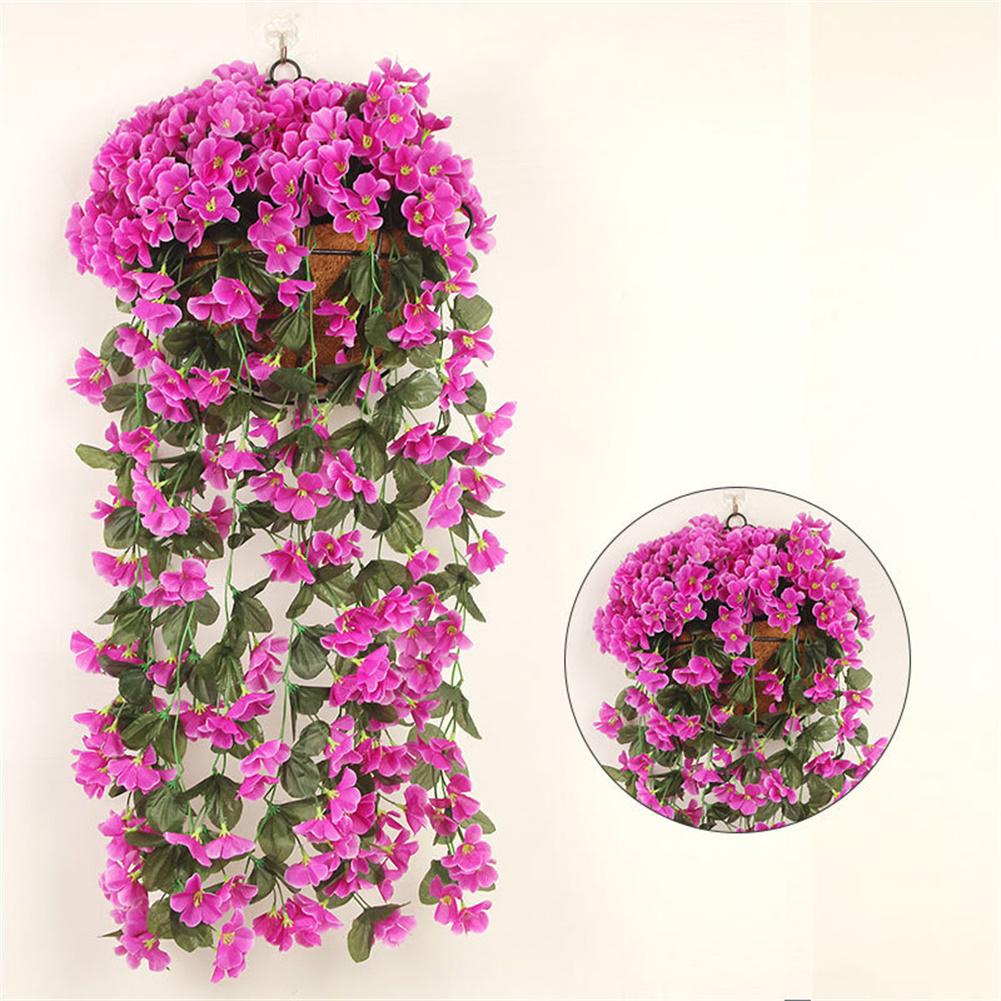 1 Bunch  Of Wall-mounted  Flower Silk Flower Simulation Chlorophytum Decorative Fake Flower purple