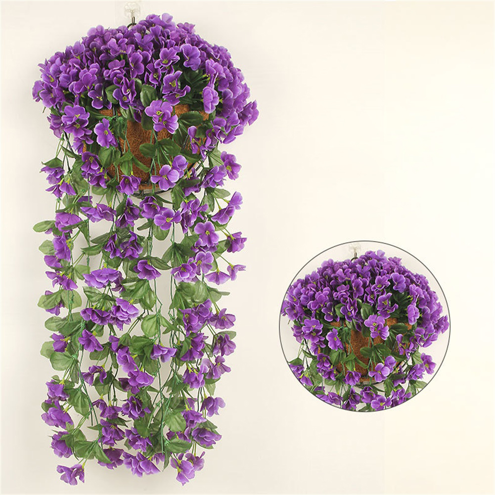 1 Bunch  Of Wall-mounted  Flower Silk Flower Simulation Chlorophytum Decorative Fake Flower blue purple