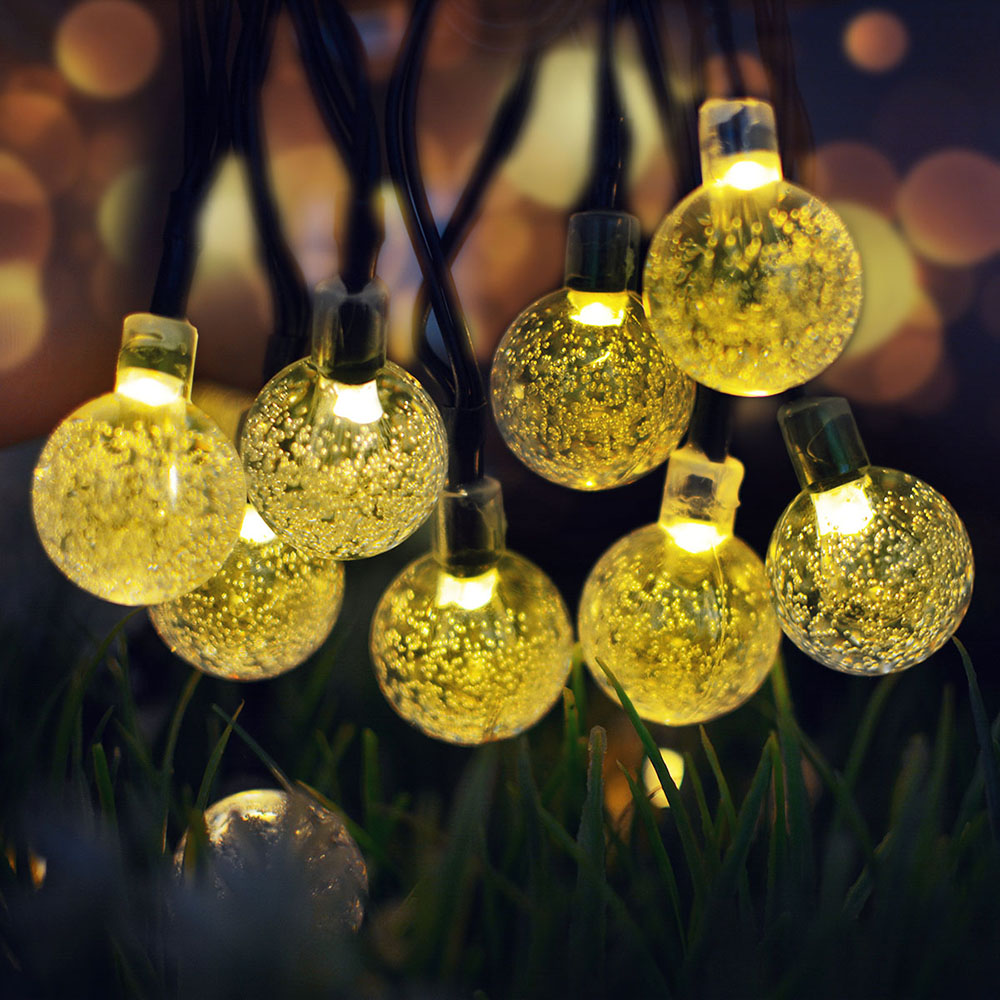 7M 50LEDs Solar Powered Bubble Ball Shape String Lights for Garden Lawn Party Wedding Decor warm light_(ME0003402)