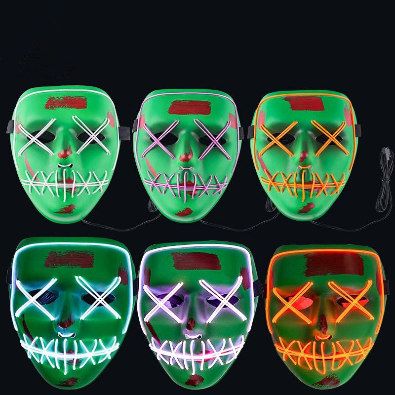Halloween LED EL Wire Mouth Eye Sewing Mask Costume for Party Prop Ice blue