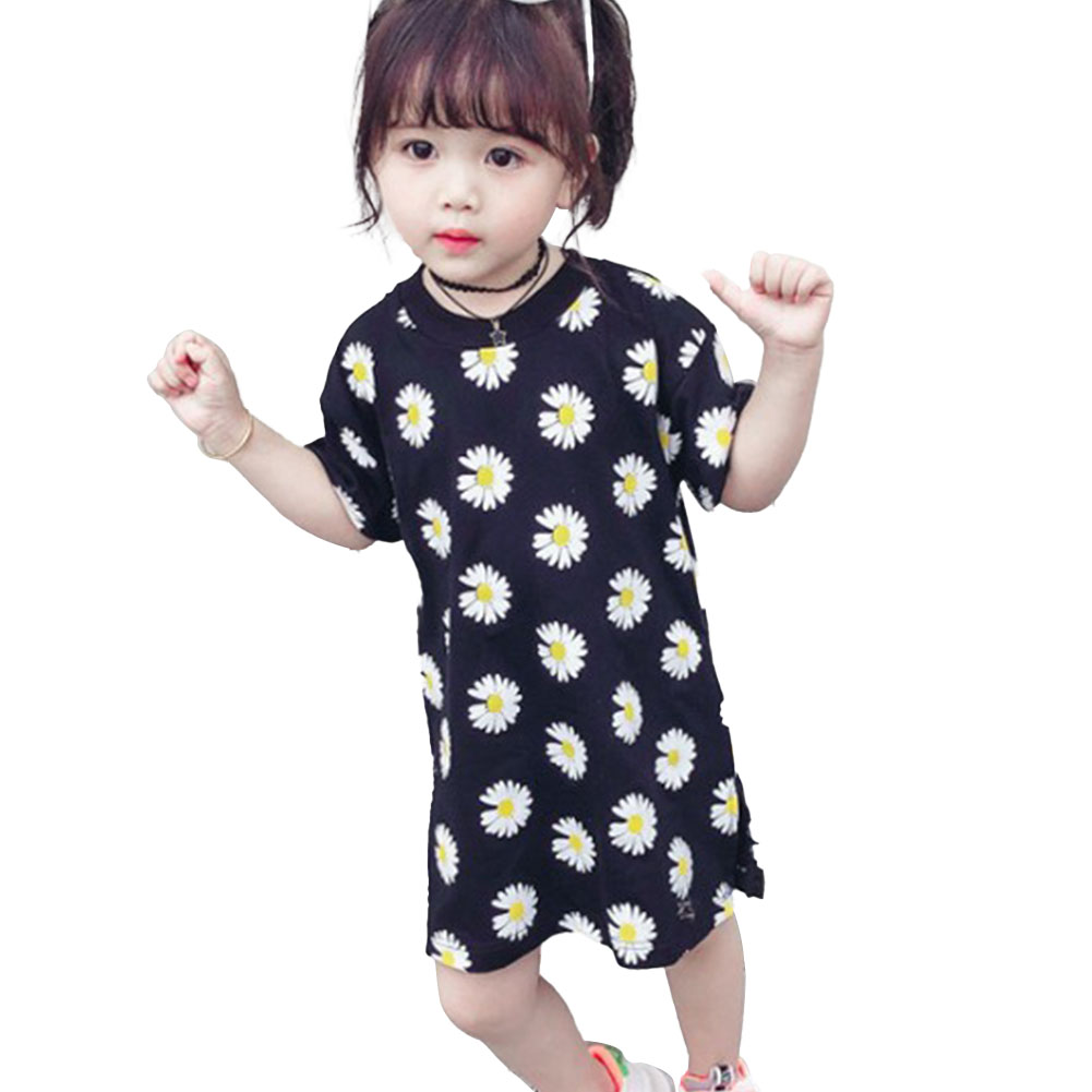 Girls Dress Cotton Daisy Short Sleeve T-shirt Dress for 2-6 Years Old Kids black_100cm
