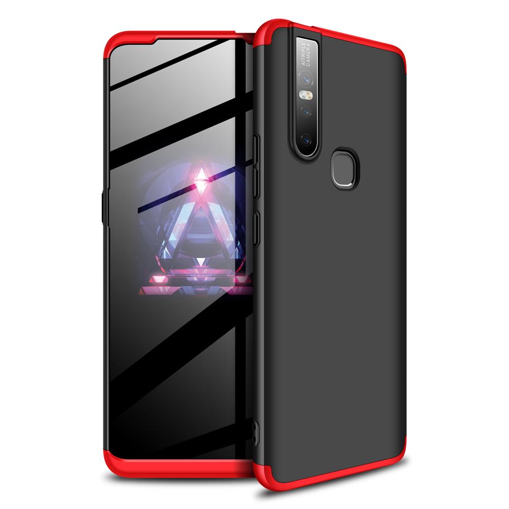 For VIVO S1/V15 Ultra Slim PC Back Cover Non-slip Shockproof 360 Degree Full Protective Case Red black red