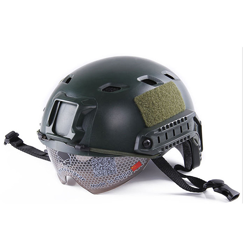 Lightweight Windproof Anti-collision Helmet with Goggles Military Shooting Helmet Paintball Face Mask  green
