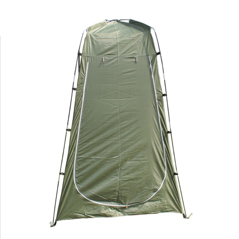 Lightweight Portable Camping Shower Tent Awning Canvas Folding Outdoor Toilet Room for Privacy Showing Changing Clothes Army Green_Single door