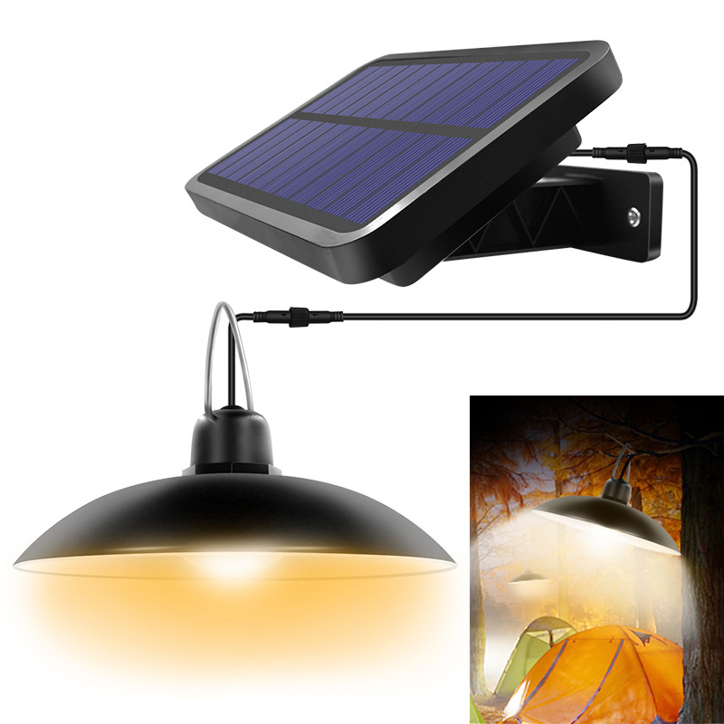 16LEDs Chandelier Solar Light Lampshade Hanging Light for Outdoor Garden Yard Lamp 16LED chandelier black shell white light
