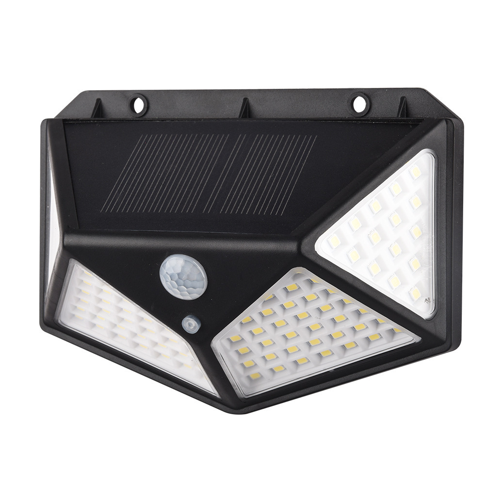114LEDs 10W Solar Wall Lamp Motion Sensor 3-Modes 4-Sides Lighting Courtyard Porch Light black_large